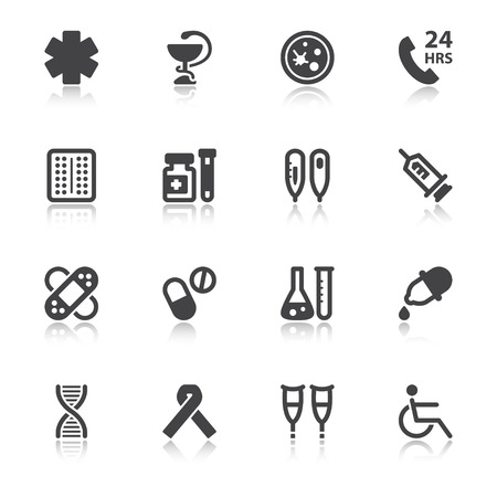 crutches: Set of black flat icons with reflection about health. Pharmacy