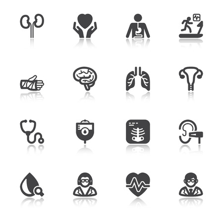stress test: Set of black flat icons with reflection about health. Medical specialties Illustration