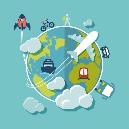 フラットなデザインの背景。世界一周旅行します。