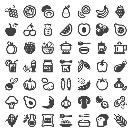 Ensemble de graphismes plats sur la nourriture végétalienne et boisson Vecteurs