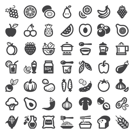 Set of flat icons about vegan food and drink Çizim