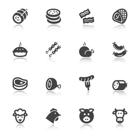 fiambres: Conjunto de iconos planos sobre la carne con la reflexión