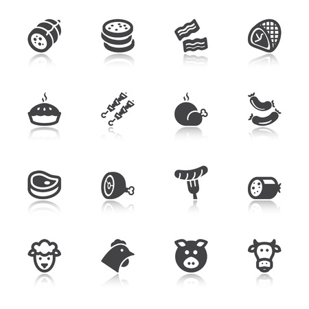 boiled sausage: Set of flat icons about meat with reflection