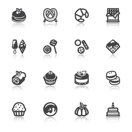 swiss roll: Set of flat icons about desserts with reflection