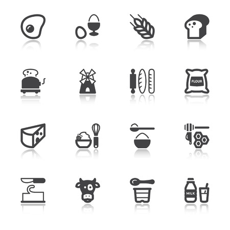 Set of flat icons about dairy egg bread and sugar with reflection