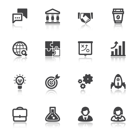 partners: Set of flat icons about business with reflection. Start up Illustration