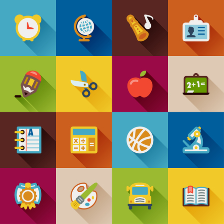 Flat icons with long shadow about school Vector
