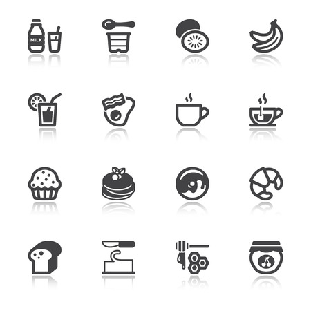 blueberry muffin: Set of flat icons with reflection about breakfast.