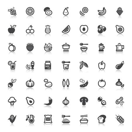 ビーガンの食べ物や飲み物については、リフレクションとフラット アイコンのセット  イラスト・ベクター素材