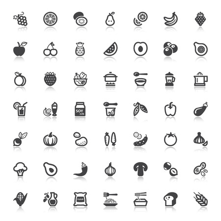 Set of flat icons with reflection about vegan food and drink Çizim