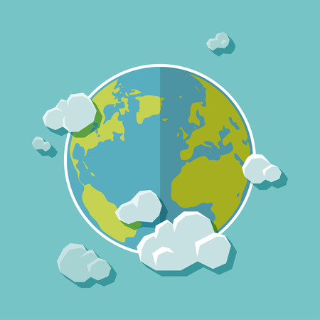 Flat design background. The Earth with clouds Vector