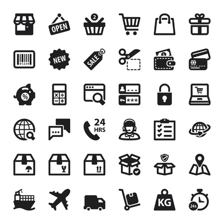 Set of black flat icons about shopping online