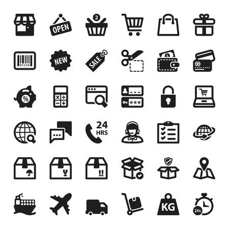 Conjunto de iconos planos negros acerca de las compras en línea Ilustración de vector