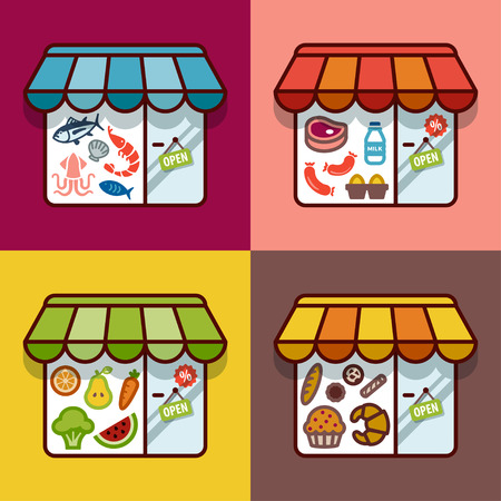 食料品店についてフラットなデザイン。肉屋。魚屋です。パン屋さん。八百屋。  イラスト・ベクター素材