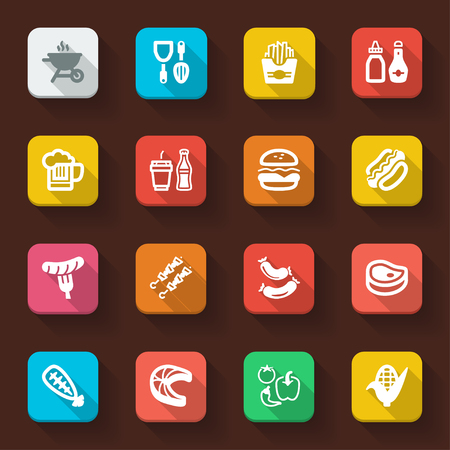 skimmer: Flat icons in a square with long shadow about  barbecue.