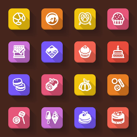 flan: Flat icons in a square with long shadow about dessert