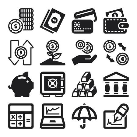 coins: Set of black flat icons about finances Illustration