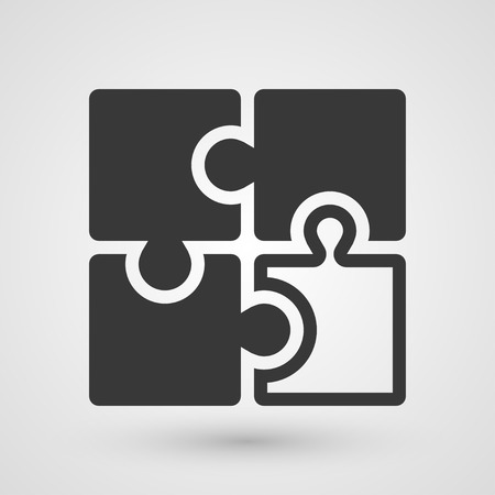 integrate: Black puzzle icon. Symbol about solution concept.