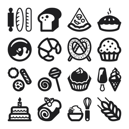 swiss roll: Set of black flat icons about bakery Illustration