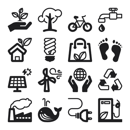 Set of black flat icons about ecology Vector