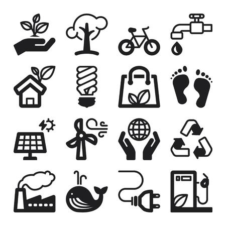 Set of black flat icons about ecology