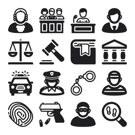 Set of black flat icons about law