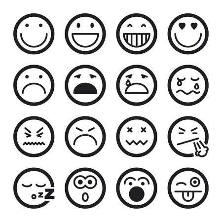 Set of black flat icons about smiley