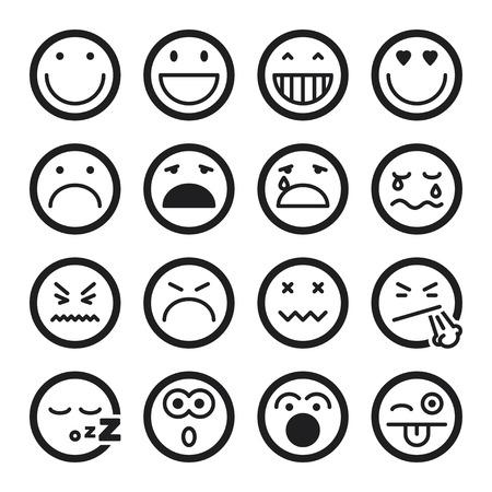 carita feliz: Conjunto de iconos planos negros sobre smiley