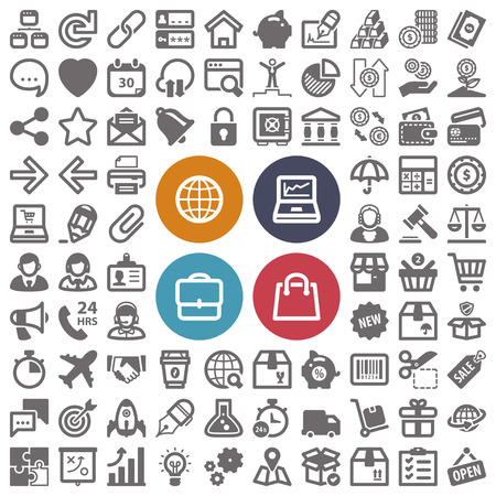 login: Set of flat icons about web, finances, business and shopping
