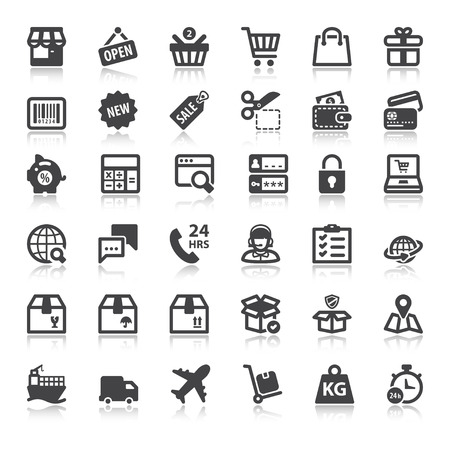 Set of flat icons  with reflection about shopping online Çizim