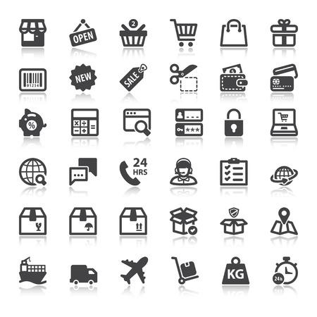 Set van vlakke pictogrammen met reflectie over online winkelen Stock Illustratie