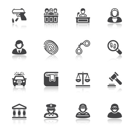 burglar proof: Set of flat icons  with reflection about law