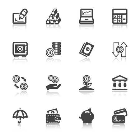 Set of flat icons  with reflection about finances Çizim