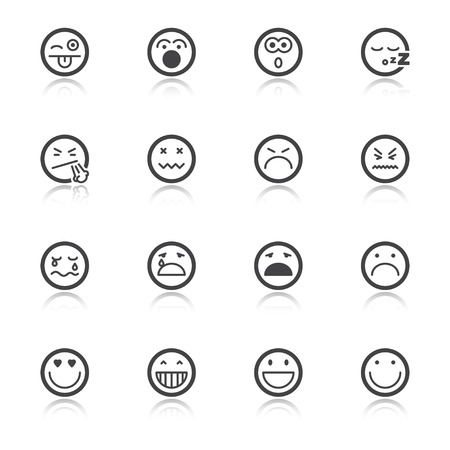 Set of flat icons  with reflection about faces and emotions