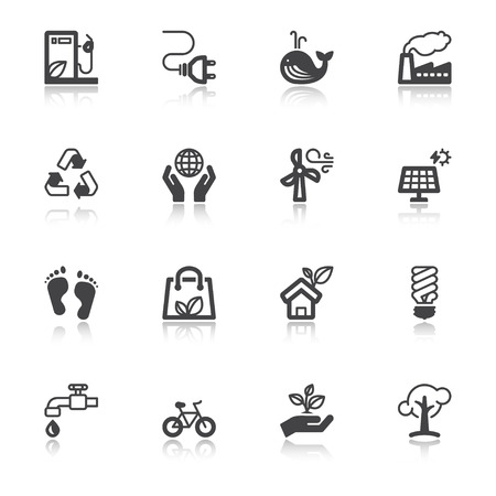 Set of flat icons with reflection about ecology Illustration
