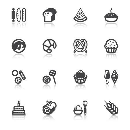 pastel de cumplea�os: Conjunto de iconos planos con la reflexi�n acerca de la panader�a