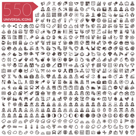 Flat icons. 550 universal icons
