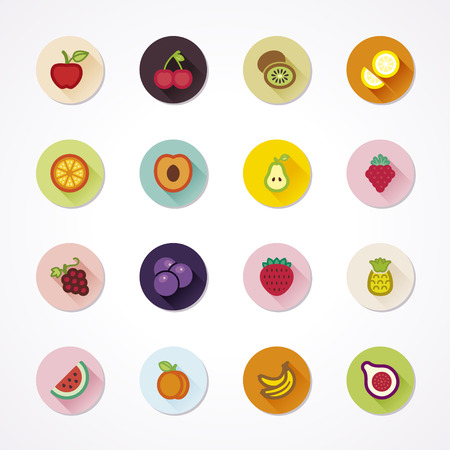 raspberry pink: Flat icons in a circle with long shadow about fruit Illustration