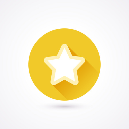 star icon: Favorite flat icon in a circle with long shadow