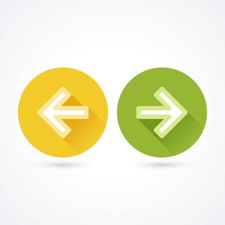 flecha derecha: Siguiente y anterior icono plana en un círculo con una larga sombra
