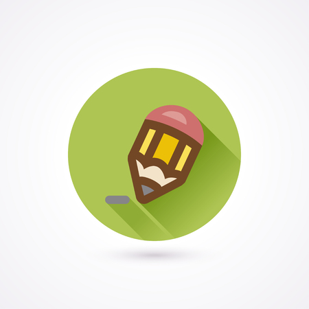 writting: Pencil flat icon in a circle with long shadow Illustration