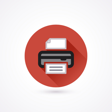 printer icon: Pinter flat icon in a circle with long shadow