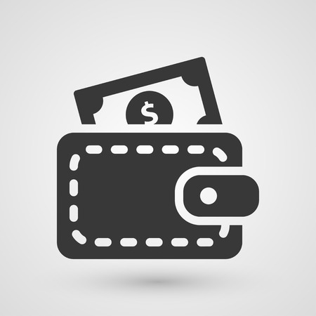 Icono de la cartera Negro. Símbolo acerca concepto de pago en efectivo.