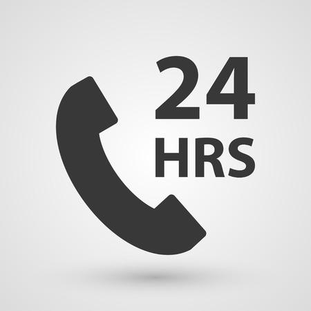 helpline: Black 24 hours icon. Symbol about services of helpline concept. Illustration