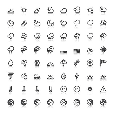 humidity: Set of flat icons with reflection about The Weather