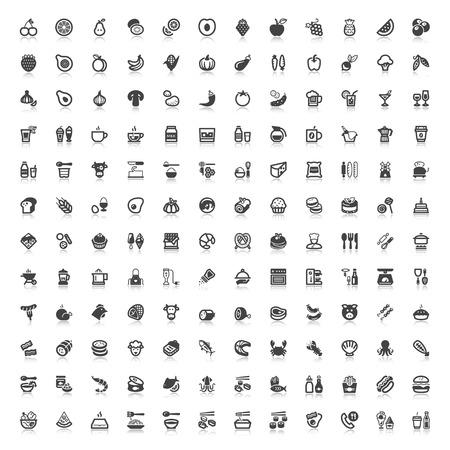 Set van vlakke pictogrammen met reflectie over eten en drinken Stockfoto - 42070260