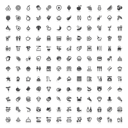 Set of flat icons with reflection about food and drink