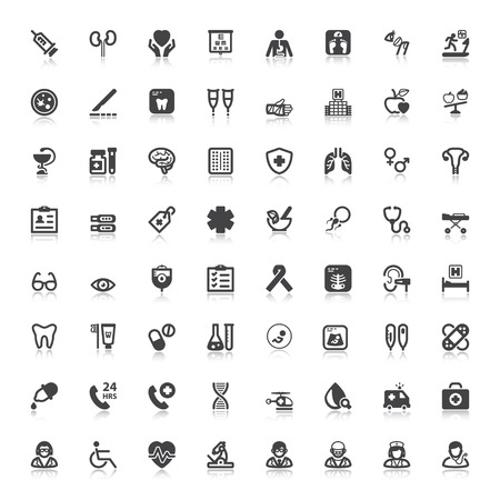 Set of black flat icons with reflection about health