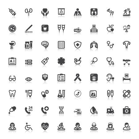 Set van zwarte vlakke pictogrammen met reflectie over gezondheid Stockfoto - 43087953