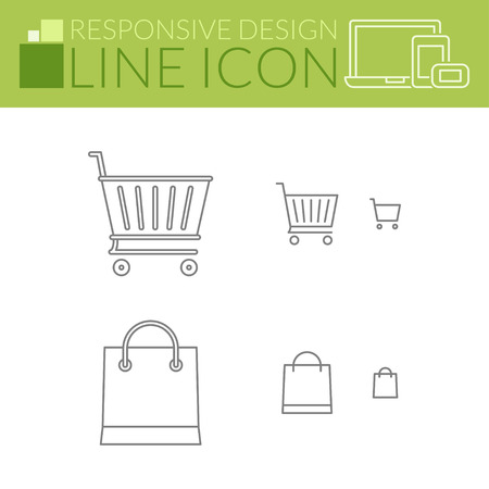 responsive design: Shopping cart and bag. Thin line icons. Responsive design for all devices.